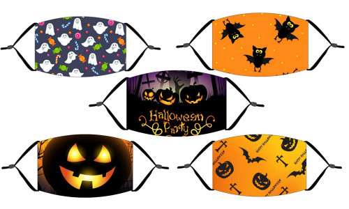 5 Pcs Halloween adult & children cartoon digital printing outdoor dustproof protective mask-la