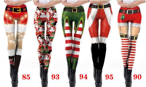 Women Christmas Elastic Leggings  Gym Running Athletic  Control Workout Trousers -LA