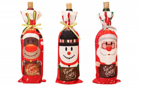 3pcs Christmas Wine Bottle Gift Bags Red Wine Bottle Covers Bags Drawstring Xmas Gift Bags Pouch Gift Wrap for Christmas Party Festival Dinner Party Table Decor-la