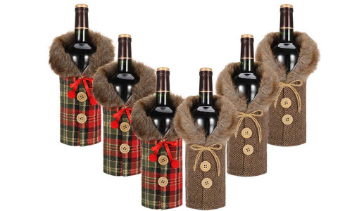 6Pieces Christmas Wine Bottle Cover Wine Bottle Dress Wine Bottle Sweater Cover Bags with Newest Collar & Button Coat Design for Xmas Party Decoration-la