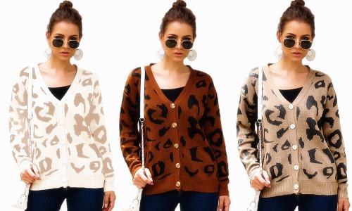 Leopard print Casual Cardigan