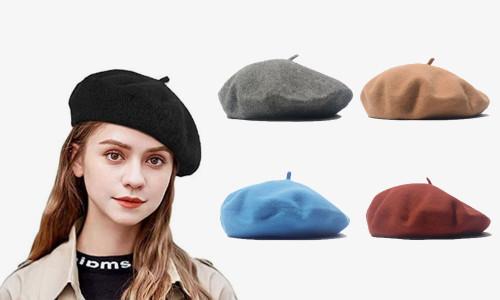 Vintage Classic French Artist Solid Color Wool Beret Hat Unisex Beanie Cap-la