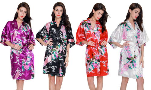 Flower Print Luxury Satin Night Gown