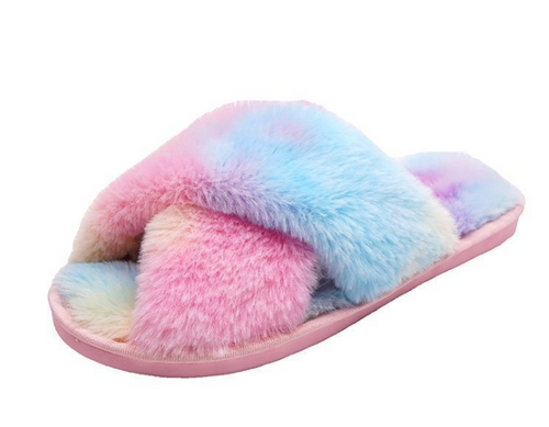Ladies Fluffy Soft Plush Faux fur warm slippers