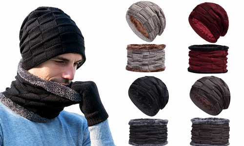 Men Knitted Soft Fleece Winter Beanie Hat with Neck Warmer