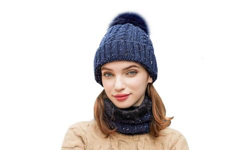 Ladies Knitted Soft Fleece Winter Beanie Hat with Neck Warmer