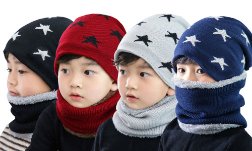 Children Star Soft fleece hat with neck warmer