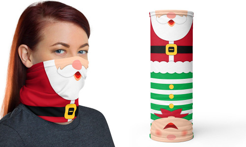 Christmas Santa and Elf reversible neck tube face cover