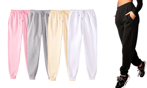Soft fleece winter warm Solid Drawstring Waist Trousers