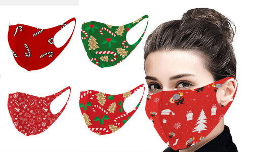 Adult Christmas Printed Mask Adult & Children Washable Dust Knitted Mask-LAF