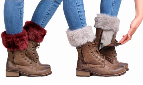 Faux fur Winter Warm Crochet Knitted  boot topper