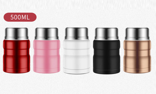 Hot Food Flask Insulated 500ml Stainless Steel Soup Food Jar with Folding Spoon