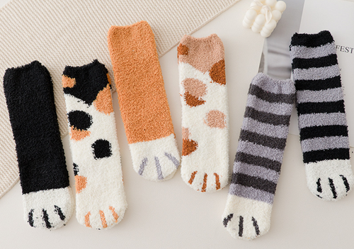 Coral fleece Fluffy Cat Claws Socks winter Boot socks