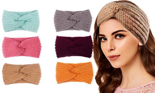 Women Crochet Cross Knot Headband Winter Knitted Head Wrap