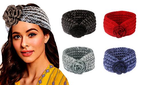Women Crochet Flower Headband Winter Knitted Head Wrap