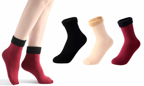 Soft Fleece Seamless Thermal Ankle High Socks