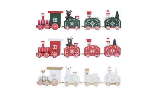 Home Crafts Christmas Wooden four Section Small Train Cartoon Children'S Holiday Birthday Gift Window Desktop Bookshelf Decorations Decoration