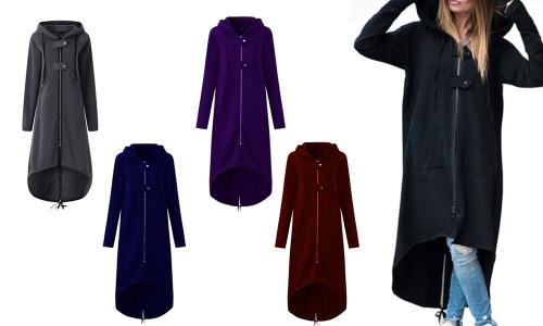 Women Winter New Long Section Plus Velvet Thick Irregular Hem Hooded Zipper Coat