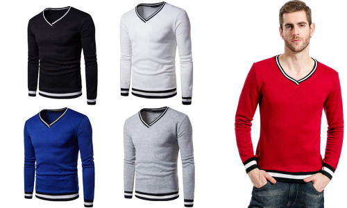 The Fall of The New Tide Brand Men's Long Sleeved T-shirt, Sweater Stitching Loose Students Sport Men Clothes-LA