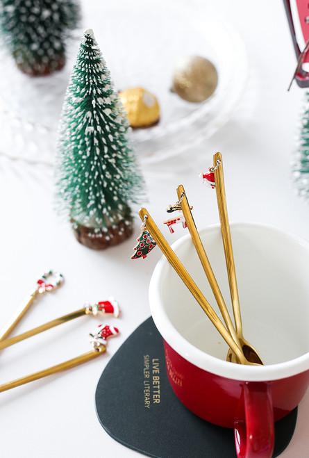 Pack of 4 Christmas Themed pendant Tea Spoon Set