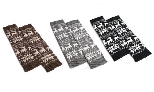Knee Legging Boot Socks,Women Striped Ethnic Knitting Wool Footless Leg Warmers Knee High Boot Socks for Winter Outdoor Sports Christmas Gift-la