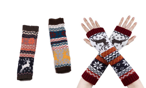 Women Arm Gloves - Winter Fingerless Christmas Gloves Warm Wrists Mittens Christmas Arm Gloves Middle Long Knitted Fingerless Gloves With Pattern Tree Snowflake Deer-LA