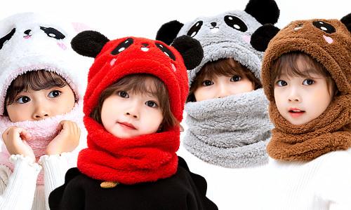 Soft Fleece Kids 2in1 Hat and neck warmer