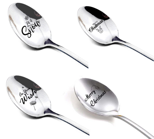 Pack of 4 Christmas Greetings Engraved Spoons