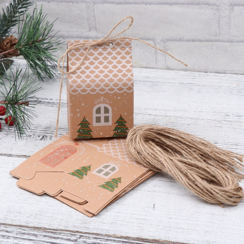 Complete Pack of 10 Kraft Christmas gift Boxes with strings and stickers