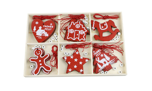 30Pcs  Christmas Wooden Ornaments DIY Crafts, Wood Pieces with Holes for Christmas Tree Ornaments Hanging Decoration-la