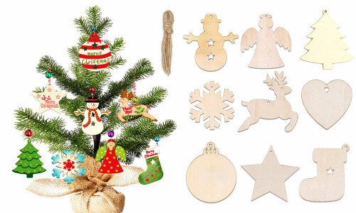 DIY Wooden  Christmas Tree Ornaments decorations