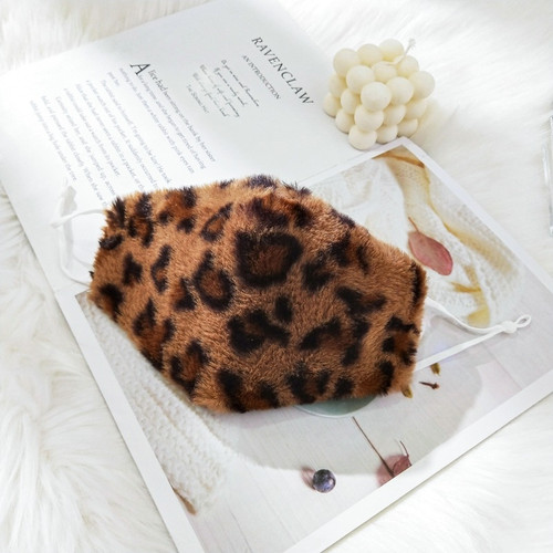 Faux fur Leopard print winter fashion mask