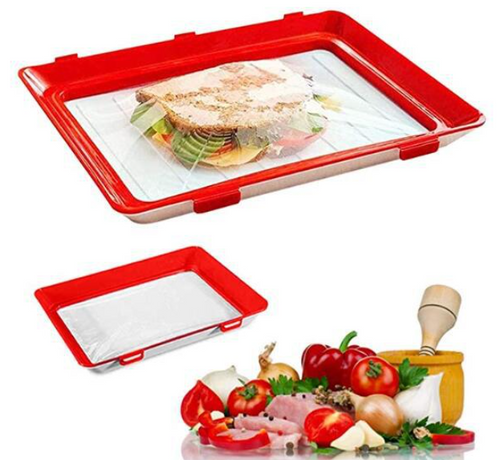 Eco Freiendly Reusable  Vacuum Fresh Storage Tray with elastic cover  lid