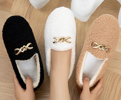 Soft fleece Chain winter warm slippers