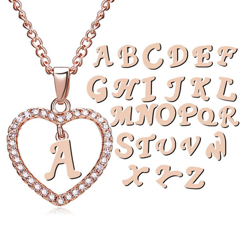 Initial Letter Cubic Zirconia Chain Necklace