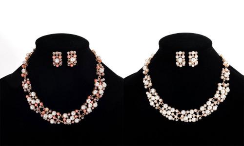 Simple Elegant Bridal Necklace Earring Set Jewelry Gift-LA