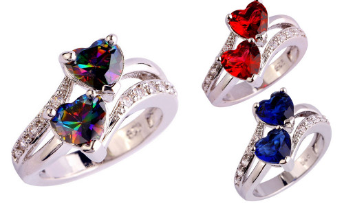 Double Heart Promise Ring for Women-LA