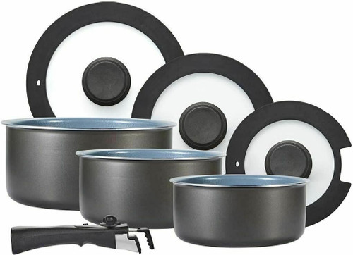 Tower Freedom 7 Piece Cookware Set Convenient Detachable Handle Space Saving Kit