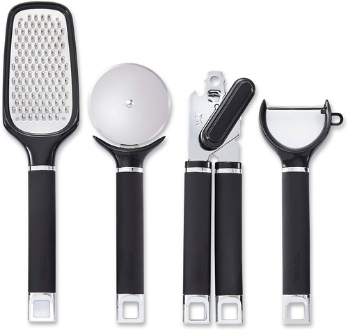 Tower T832151 Precision Set of 4 Stainless Steel Gadgets with Soft Touch Handles Black