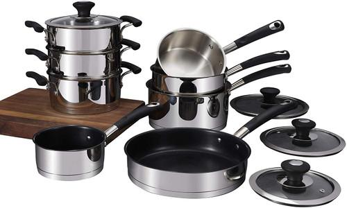 Tower T900100 Precision 8 Piece, Premium Pan Set, Non-Stick Ceramic Coating, Stainless Steel