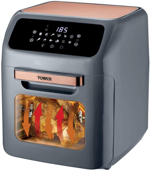 Tower T17064 Digital Air Fryer Oven with Rapid Air Circulation and 10 Preset Cooking Options, 12 Litre, Grey and Rose Gold