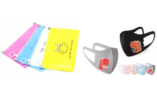 Kid's 3D Cartoon Face Mask and Face Mask Storage Bag