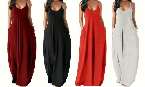 Plus size women's solid color sexy sling dress-la