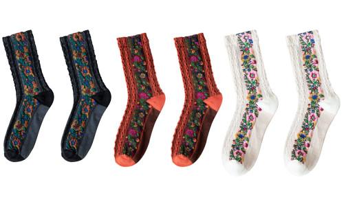 Bonito pequeno floral moda retro palacio padrao etnico no tubo meias botas meias criativas all-match meias-LA