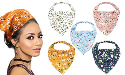 Flower Print Triangle Bandana Hair Band