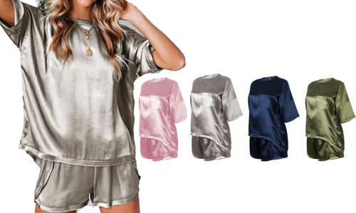 Silk style comfortable casual short sleeve pyjama sets