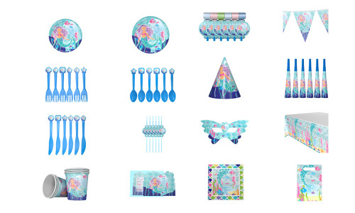 New big mermaid children's birthday party decoration supplies theme package set