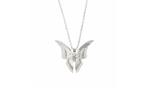 Hollow pointed butterfly necklace pendant