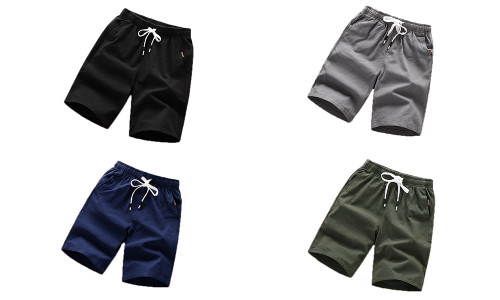 Solid color shorts men's summer five-point casual pants men's shorts casual beach pants men's sports five-point pants