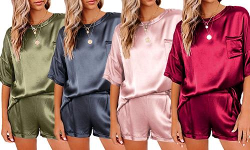 Oversize top Satin Pyjamas Set